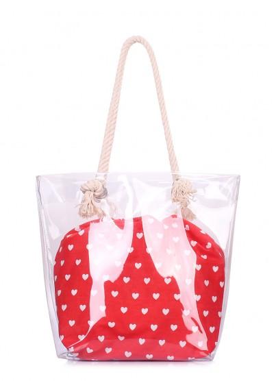 Прозрачная летняя сумка с сердцами