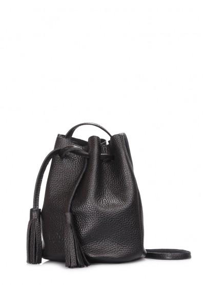 Черная кожаная сумочка на завязках Bucket