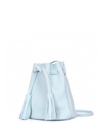 Голубая кожаная сумочка на завязках Bucket