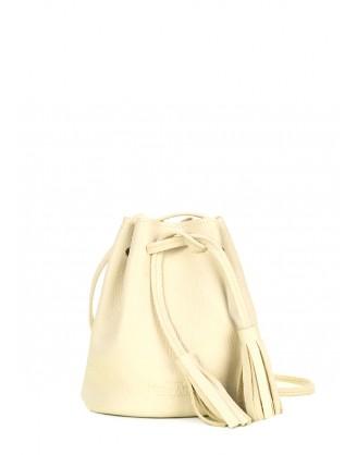 Желтая кожаная сумочка на завязках Bucket