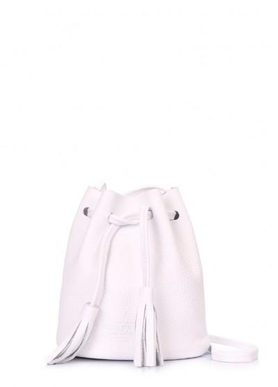 Белая кожаная сумочка на завязках Bucket