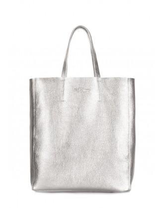 Кожаная сумка City серебро