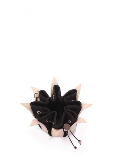 Золотая кожаная ключница-цветок