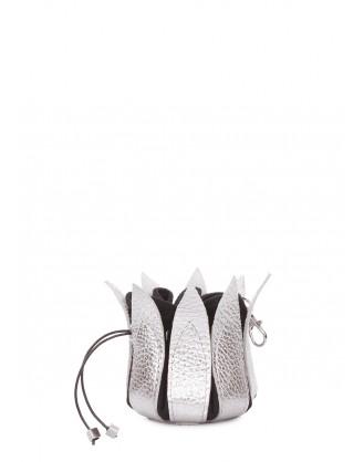 Серебряная кожаная ключница-цветок