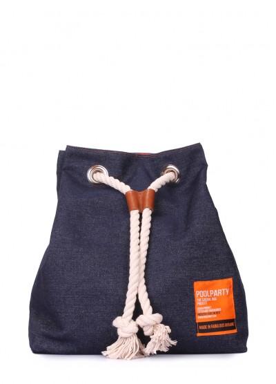 Джинсовый рюкзак на завязках