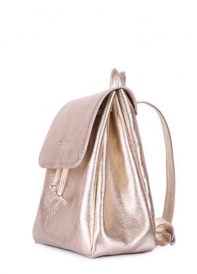 Золотой кожаный рюкзак на завязках Paris