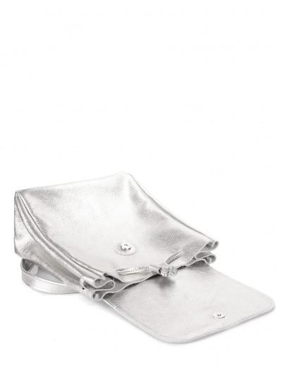 Серебряный кожаный рюкзак на завязках Paris