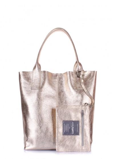 Золотая кожаная сумка POOLPARTY Podium