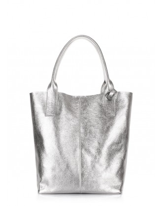 Leather tote Podium in silver color