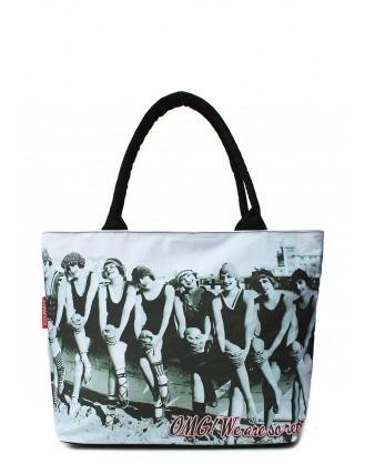 Коттоновая сумка POOLPARTY с ретро-принтом
