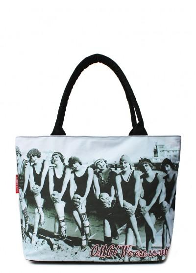 Коттоновая сумка POOLPARTY с трендовым принтом
