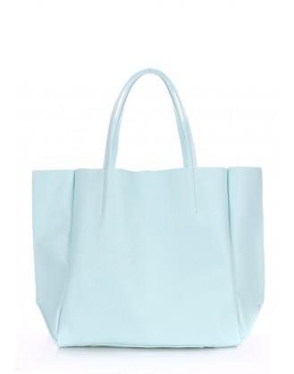 Кожаная голубая сумка Soho