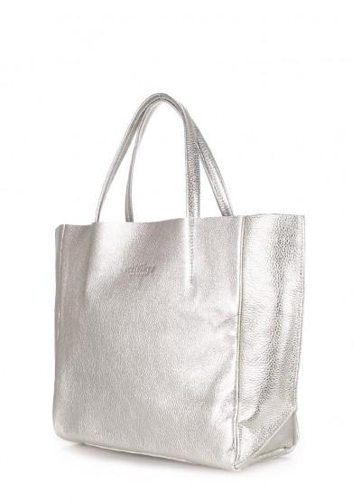 Кожаная серебрянная сумка Soho