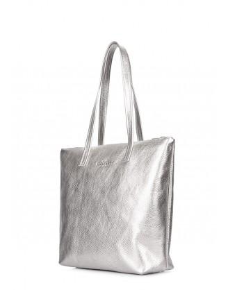 Серебряная кожаная сумка Secret