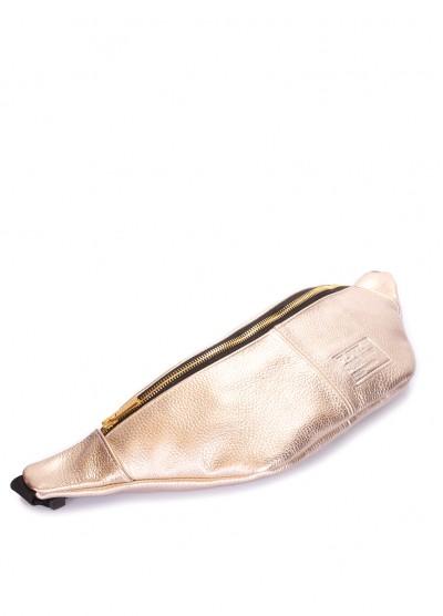 Золотая кожаная сумка-бананка PLPRT