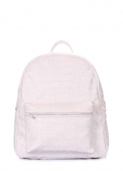 Белый рюкзак XS с тиснением под крокодила